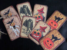 8 Large Halloween Themed Vintage Style Gift Tags