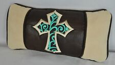 Embroidered Turquoise Cross Pillow made w Faux Cream Suede Fabric 14x7 self cord