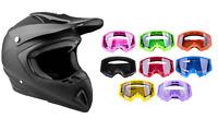Adult Matte Black Motocross Helmet Combo Goggles DOT Off-road Dirt Bike ATV UTV