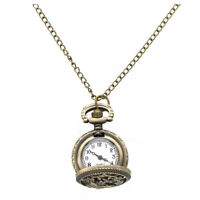 Quartz Pendant Pocket Watch Chain Bronze Arabic Numeral Hollow Butterfly W7 G6M5