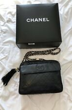 Vintage Chanel Black Quilted Lambskin Leather Jumbo Logo Camera Bag, 100% Auth