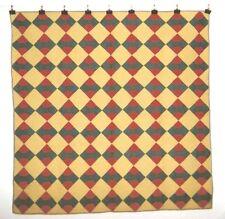 """Bow Ties"" Quilt - c.1880s, Pa, 68"" x 68"" Quaker Prints"
