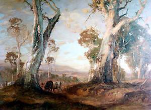 Hans Heysen / Red Gold / Australian  Landscape / Gum Trees.