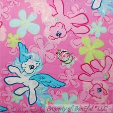 BonEful FABRIC FQ Cotton Quilt PINK White MY LITTLE PONY Horse Flower Girl RARE