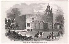 MISSION SAN JUAN CAPISTRANO, SAN ANTONIO, TEXAS, antique engraving 1852