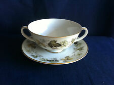Royal Doulton Larchmont soup bowl & saucer (very minor gilt wear )