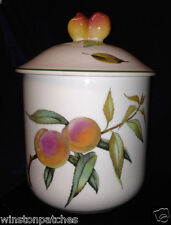 "ROYAL WORCESTER 1986 EVESHAM VALE SUGAR CANISTER & LID 8 3/8"" FRUIT & LEAVES"