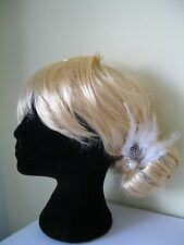 WHITE WEDDING FASCINATOR FEATHER HAIR CLIP VINTAGE PEARL FORMAL PROM CHRISTMAS