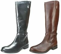 Ladies Real Leather Knee High Low Heel Flat Zip Biker Riding Style Boots