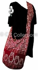 SHOPPING Shoulder BAG COTTON Bohemian Thai Hippy Gypsy YAM OWL RED