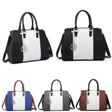 c0724efb99d Women Faux Leather Handbag Sutton Centre Stripe Tote Shoulder Bag Contrast