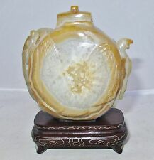 """3.35"""" Chinese Carved Pale Carnelian Agate Geode w/ EAGLE, CHILONG Dragon & Stand"""
