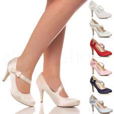 Mujer tira lazo strass boda merceditas tacón alto zapatos salón escarpines talla