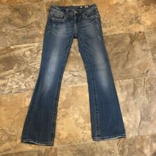 Miss Me Womens Boot Cut Jeans Blue Embellished Medium Wash Thick Stitch 27