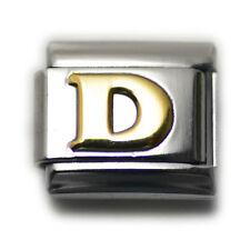 """Italian Charm Bracelet Alphabet Letter Link - LETTER """"D"""""""