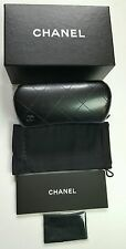 CHANEL BLACK QUILTED XL SUNGLASS CASE WITH BOX POUCH CLEANING CLOTH & PAPER = D1