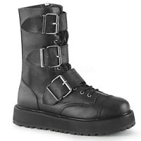 Demonia VALOR-210 Men's Black Gothic Punk Cyber Patform Lace-Up Mid-Calf Boots