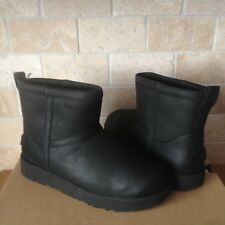 UGG Classic Mini Black Waterproof Leather Sheepskin Boots Size US 6 Womens