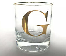 "Williams Sonoma Gold Monogram ""G"" Glass Double Old Fashioned Barware New Gift"