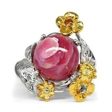 41.50ct Natural Pink Sky With White Cloud Ruby Ring With Zircon in 925 Silver