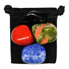 ELECTROMAGNETIC POLLUTION Tumbled Crystal Healing Set = 4 Stones + Pouch + Card