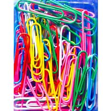 100 JUMBO PAPER CLIPS LARGE SIZE ASSORTED COLORS QUALITY ITEM PAPERCLIPS 47mm