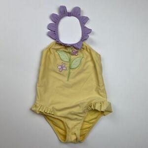 Gymboree 3t Girls yellow Swimsuit purple Flower neck