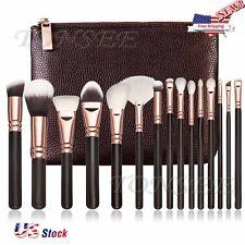 Us Professional 15Pcs Makeup Brushes Set Powder Cosmetic Tool Synthetic Bag Bw