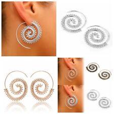 Tribal Boho Gold/Silver Plated Round Spiral Brass Tribal Dangle Hoop Earrings