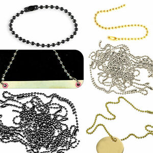 100 x Metal Ball Chain Bead Connector Clasp Keyring Dog Tags Label Necklace 10cm