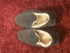 UGG Ascot Leather Slippers size 11 Mens Sheepskin #1101110 Charcoal pre owned