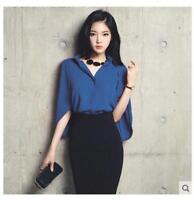 Korean Womens Slim Fit Chiffon Short Batwing Sleeve Casual Shirts Blouse Tops