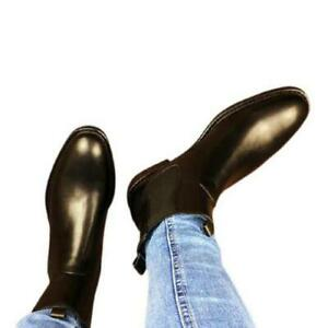 British Mens High Top Real Leather Chelsea Boots Shoes Pointy Toe Chukka Party L