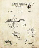 Fishing Lure Patent Art Print Vintage Creek Chub Letterhead Cabin Decor PAT501