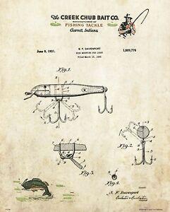 Fishing Lure Patent Art Print Vintage Creek Chub Letterhead Cabin Wall Decor