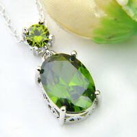Natural Birthstone Olive Peridot Gemstone Silver Necklace Pendants With Chain