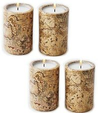 x 4 cream marble tea light candle holder - home garden party & barbeque fab gift