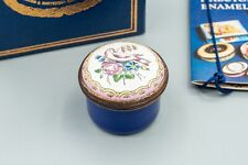 Halcyon Days Enamel Trinket Box Floral Gift Box Flowers, Dove Bird Bilston, Blue