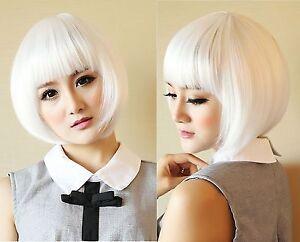 New Womens Lady Short Straight Hair Fashion Full Wigs Cosplay Costume White Bob