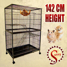 142CM 3 Level Bird Cage Ferret Pet Cat Hamster Rat Budgie Stainless C Wheel P