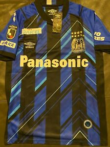 Umbro brand  GAMBA OSAKA Blue SOCCER JERSEY sz LARGE   JAPAN  J1 LEAGUE