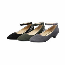 Lady's Kitten Heel Pointed Toe Shoes Suede Fabric Ankle Strap Pumps UK Size D483