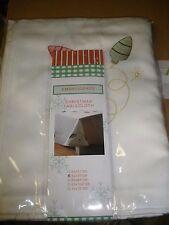 """NEW Nantucket Christmas Tablecloth Embroidered Light Bulbs 52"""" X 70"""""""