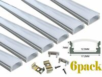 Muzata 6-Pack 3.3ft/1Meter 9x17mm U Shape LED Aluminum Channel System With
