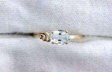 10Kt REAL Yellow Gold 7x5 Oval Light Blue Aquamarine Gem Gemstone Ring Size 7