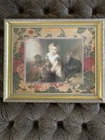 Antique Vintage Print Girl With Puppies Victorian Professionally Framed 24 20