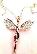 Guardian Angel Crystals Pendant Necklace Gold Plated Swarovski Elements