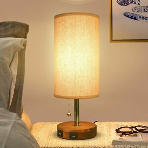 Bedside Table Lamp Seealle Modern Table & Desk Lamp with Dual USB Charging Port