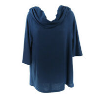 Soft surroundings Tunic Sweater Blue Women's Large Cowl Neck 3/4 Sleeve USA