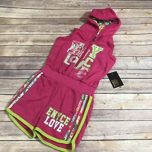 Girls Enyce Love Pink Sparkle Hooded Romper NEW NWT 7/8
